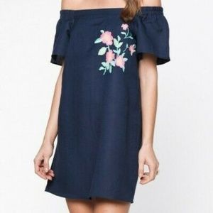 Anthropologie Everly Embroidered Dress Off Shouldr